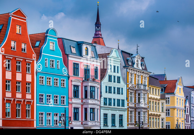 Historic Buildings in Rostock, Germany. - Stock-Bilder