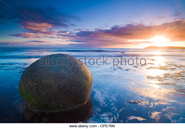 Moeraki Boulders, Otago, South Island, New Zealand, Pacific - Stock Image