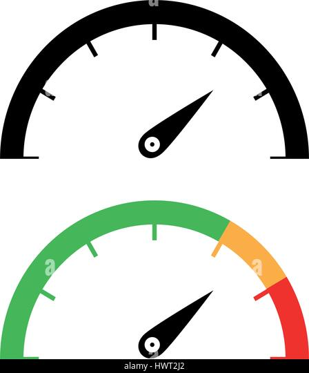 The black and color speedometer icon set. - Stock Image