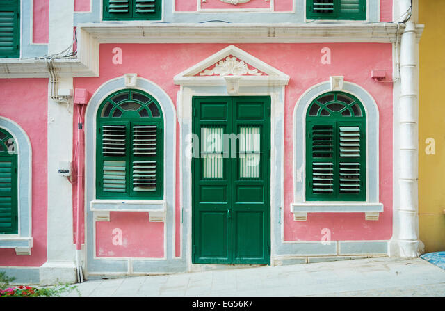 portuguese colonial architecture in central macau china - Stock Image