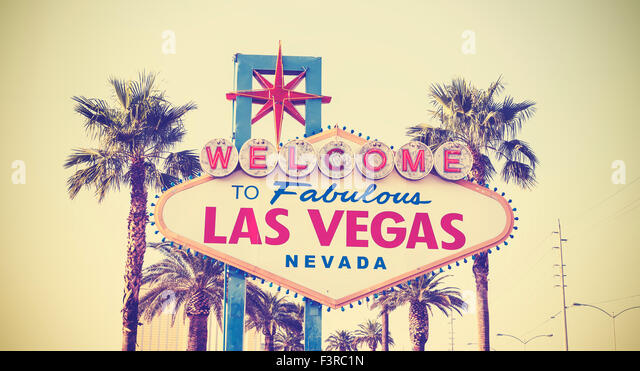 Retro vintage toned Welcome To Las Vegas Sign, USA. - Stock Image