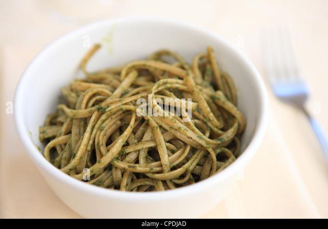 Italian food, of pasta dish of trenette al pesto, Italy, Europe - Stock Image