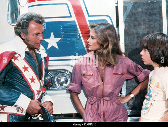 1977 Viva Knievel Doing Daredevil Stunt Evel Harley: Knievel Stock Photos & Knievel Stock Images