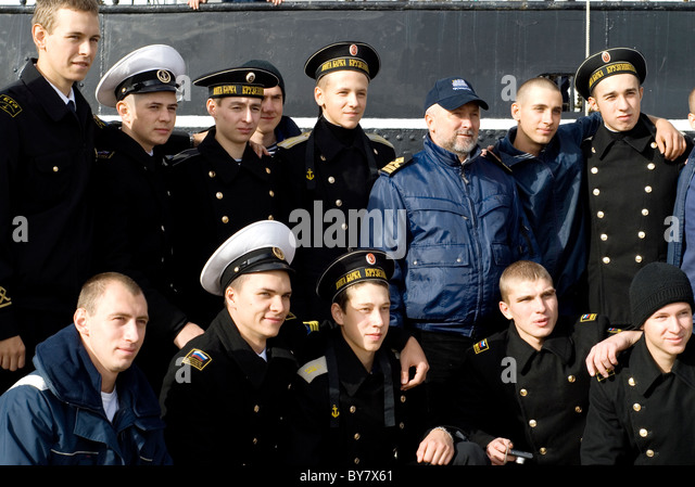 Group picture of young Russian sailors - Stock Image