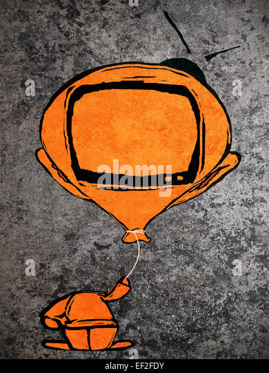 orange man with  balloon television head - Stock Image