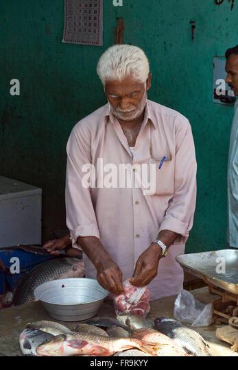 Asien, Indien, Karnataka, Belur, Fischhaendler - Stock-Bilder