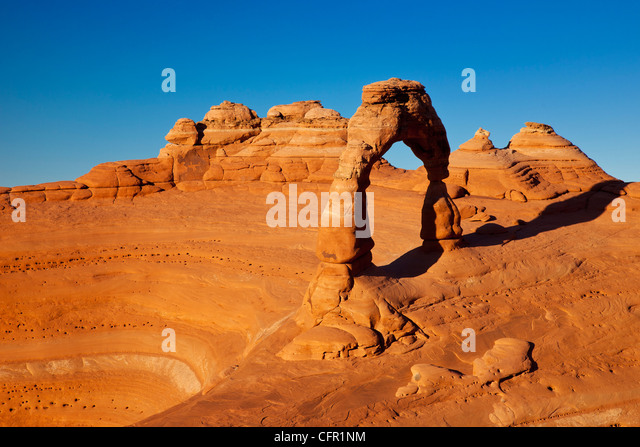 Delicate Arch at sunset, Arches National Park near Moab Utah, USA - Stock Image