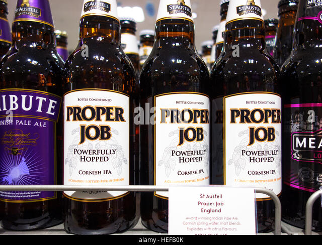 Bottles of ' Proper Job ' Cornish Ale - Stock Image