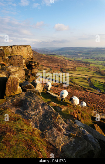 Curbar Edge Derbyshire UK - Stock Image