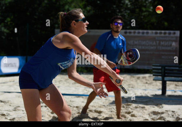 Moscow, Russia, 16th July, 2015. Mixed double Suzy Madge and Yiannis Toumazis of Great Britain in the match against - Stock Image
