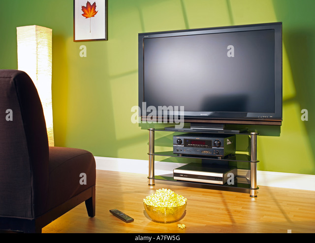 Plasma TV in living room Television horizontal - Stock Image