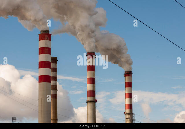 Big pollution in Polish Coal Power Plant - Patnow, Konin, Europe. - Stock Image