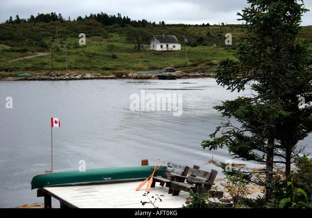 oceanside pier at the Atlantic Ocean, Nova Scotia, Canada. Photo by Willy Matheisl - Stock Image