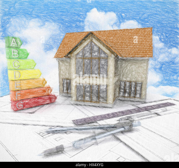 3D render of a house on plans against a blue cloudy sky - Stock Image