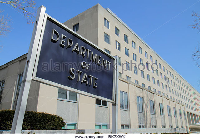 Washington DC 23rd Street NW Federal government office building Department of State sign international diplomacy - Stock Image