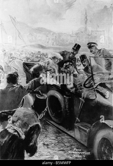 9OE 1914 6 28 A3 Assassination of Franz Ferdinand 1914 History of World War One Assassination of the Austro Hungarian - Stock Image