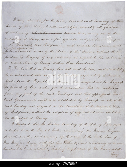 Compromise of 1850. Resolution introduced by Senator Henry Clay. Henry Clay's handwritten draft. 1850 - Stock-Bilder