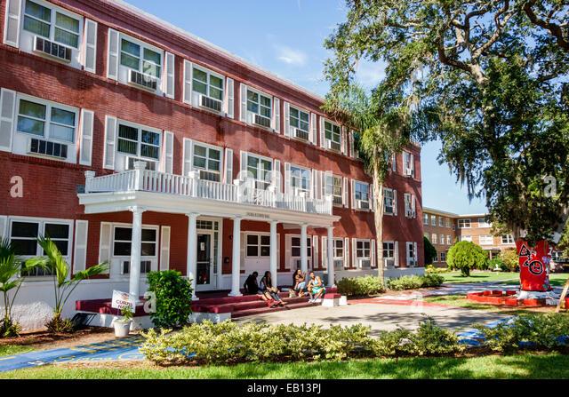 Daytona Beach Florida Bethune-Cookman University campus Black teen student Flora B. Curtis Hall dormitory man woman - Stock Image