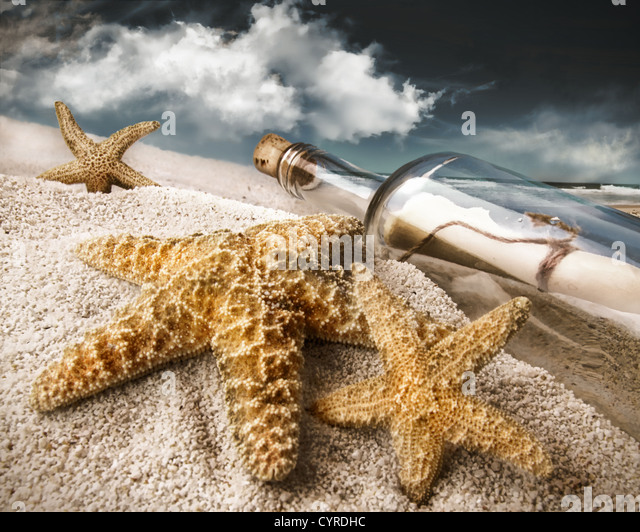 Message in a bottle buried in sand on a beach - Stock Image