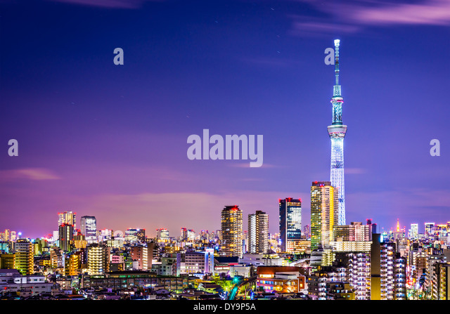 Tokyo, Japan cityscape with the Skytree. - Stock-Bilder