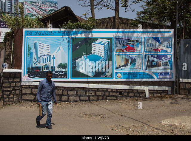 Billboard depicting a future church to be built, Addis Ababa region, Addis Ababa, Ethiopia - Stock-Bilder