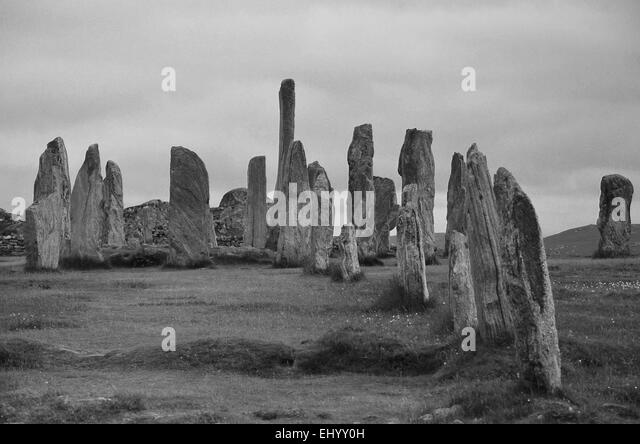 Scotland, lewis, megaliths, standing stones, stone circle, menhirs, callanish, Outer Hebrides, Hebrides, Great Britain, - Stock Image