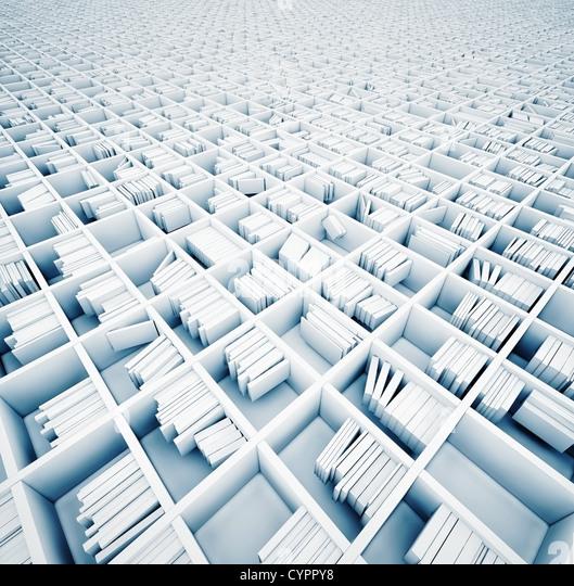 endless white shelves (illustrated concept) - Stock Image