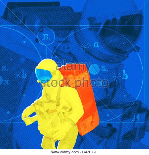 retro spaceman space walk anti gravity photo illustration - Stock Image