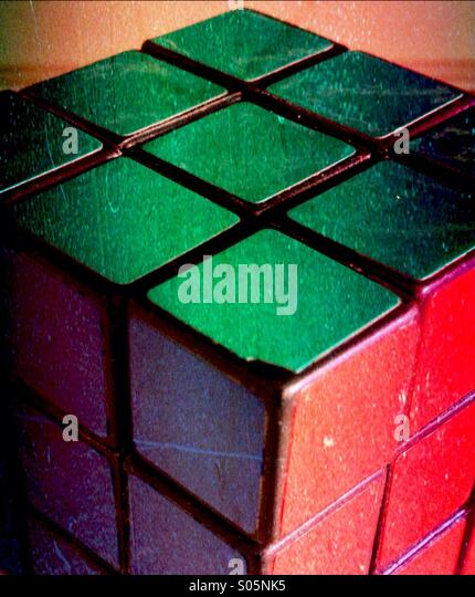 Side view of a Rubik's cube - Stock Image