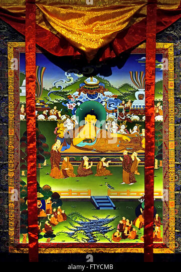 Death of Buddha 2015 Raj Bahadur Lama Kathmandu Nepal Tibet  (the Buddha is here on his right face is all earthly - Stock Image