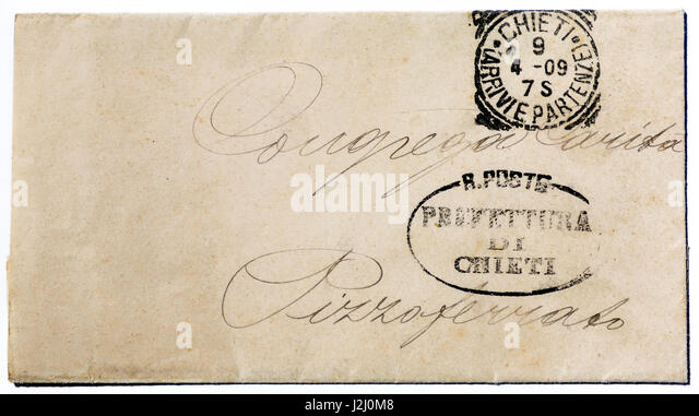 Early 19th century hand-written Italian envelope. - Stock Image