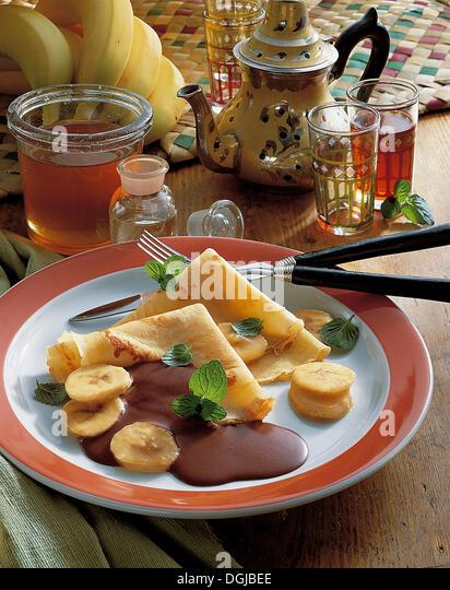Banana crepes, Algeria, recipe available for a fee - Stock Image