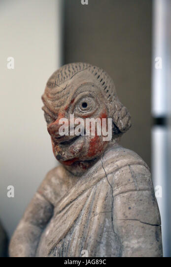 Terracotta figure of comic actor. Etruscan. 2nd cent. BC. Canino, Italy. Actor wearing mask of a Flatterer. British - Stock Image