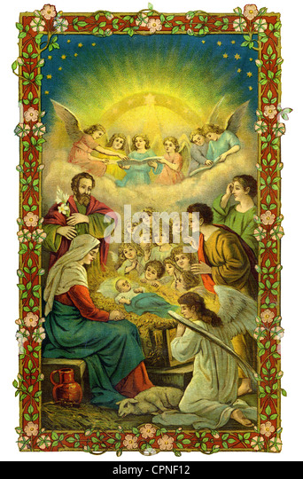 Christmas, religious images, The Nativity, Holy Family, Saint Mary, Joseph, Jesus, lithograph, Germany, circa 1898, - Stock Image