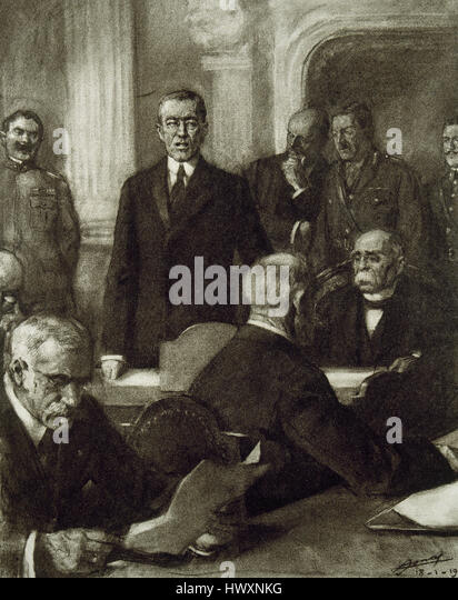 France. Paris Peace Conference, 1919.The President of United States, Thomas Woodrow Wilson (1856-1924) presenting - Stock Image