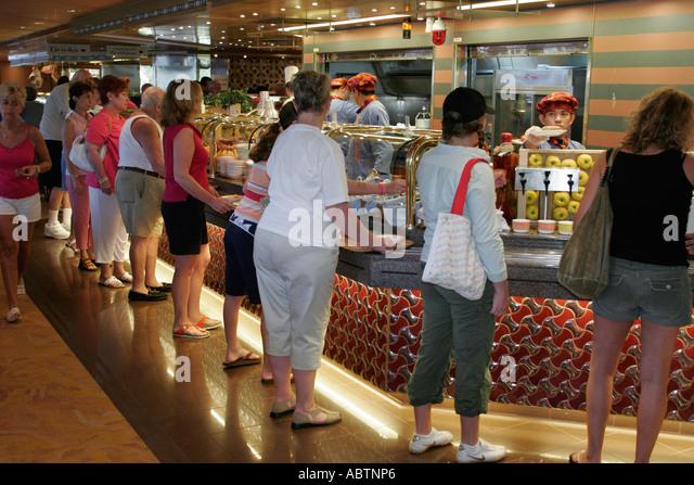St. Thomas USVI Holland America Line ms Noordam Lido Restaurant food line cafeteria - Stock Image