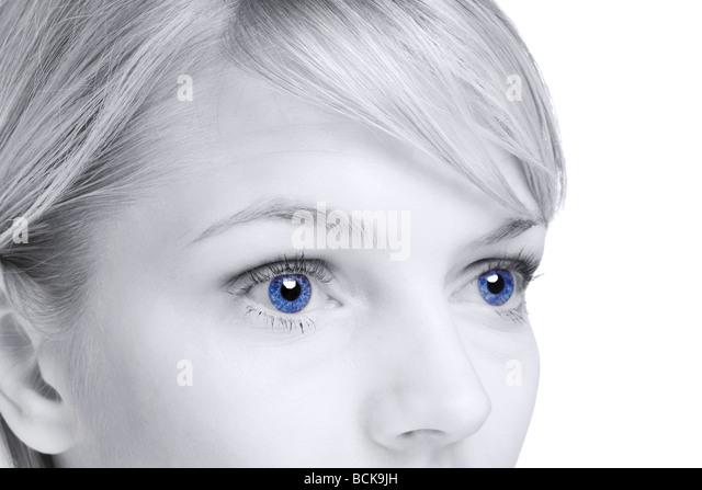 Abstract image of a blond woman with blue eyes - Stock-Bilder