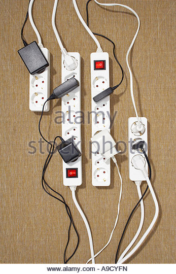 different cables and sockets lying in perfect order - Stock Image