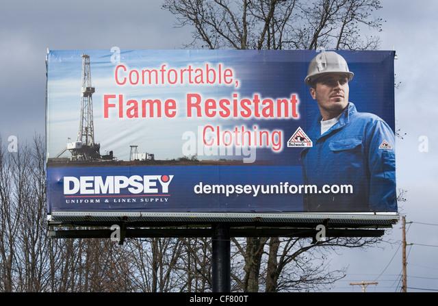 Billboard for fracking clothes, Springville, Pennsylvania, Susquehanna County - Stock Image