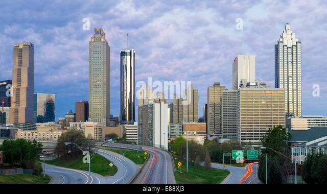 Elevated view over Freedom Parkway and the Downtown Atlanta skyline, Atlanta, Georgia, United States of America, - Stock Image