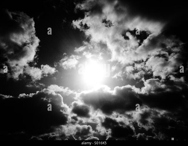 Sun between clouds - Stock Image