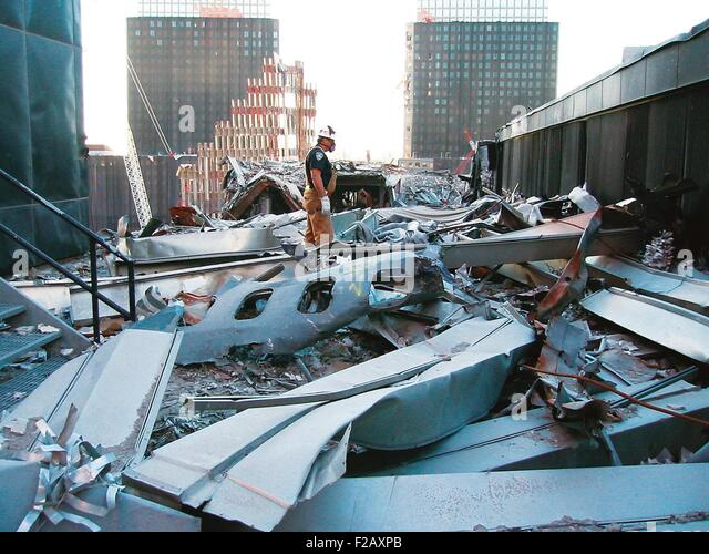 A portion of the fuselage of United Airlines Flight 175 on the roof of WTC 5, Oct. 25, 2001. This was from the plane - Stock Image
