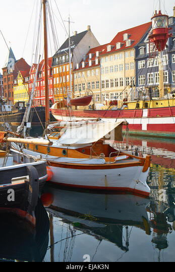 The boats and ships in Nyhavn, Copenhagen. - Stock Image