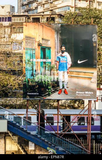 Mumbai India Asian Girgaon Maharshi Karve Road Charni Railway Station Western Line billboard advertisement Nike - Stock Image