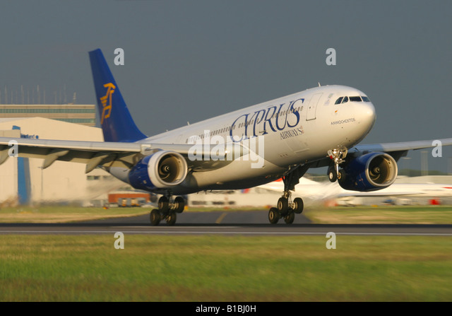 Cyprus Airways Airbus A330 Landing at London Heathrow Airport - Stock Image