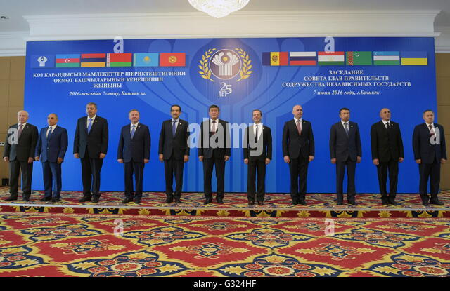 Bishkek, Kyrgyzstan. 07th June, 2016. CIS Executive Secretary Sergei Lebedev, Azerbaijan's First Deputy Prime - Stock Image