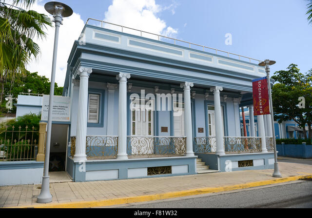 Historic house at the town of Yauco, Puerto Rico. USA territory. Caribbean Island. - Stock Image