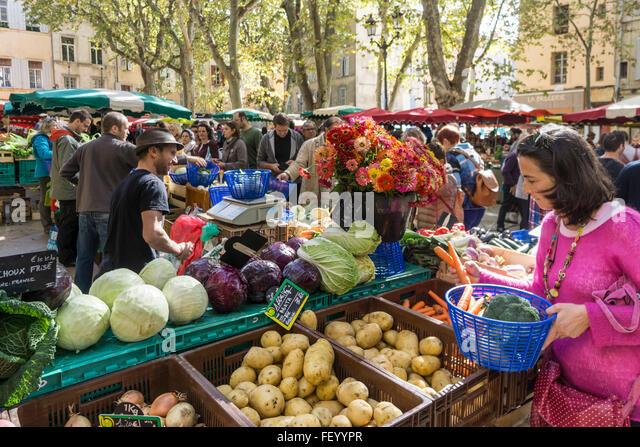 Market Place Richelme, Vegetables,  Aix en Provence, Bouche du Rhone, France - Stock Image