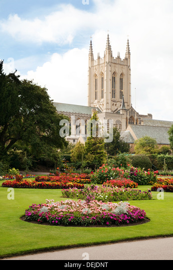 Bury St Edmunds, Suffolk - the cathedral seen from the Abbey gardens, UK - Stock Image
