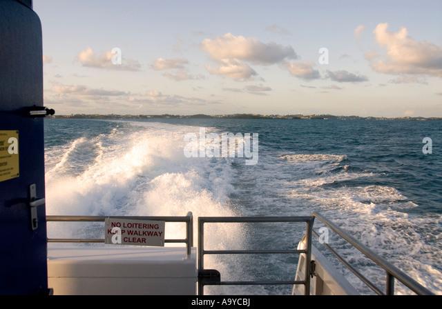 Bermuda fast ferry wake from stern  Royal Naval Dockyard - Stock Image